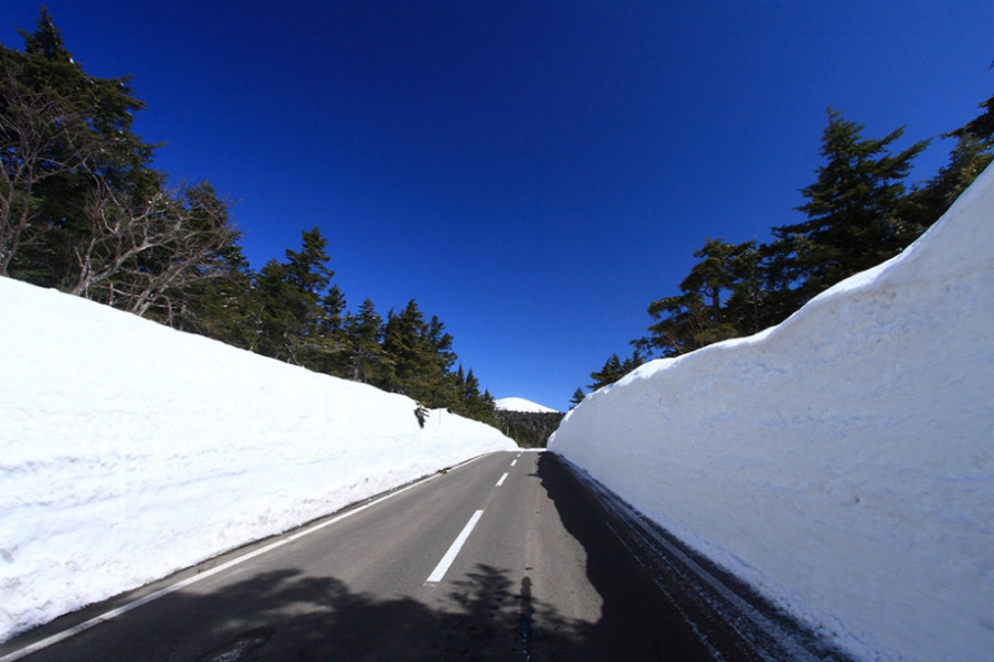 """雪的回廊 (是观光收费道路""""磐梯吾妻sky line""""值得看的地方之一。)"""